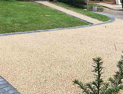 Resin bound solutions for drives and paths
